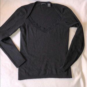 MODA International Black Silk/Cashmere Sweater - S